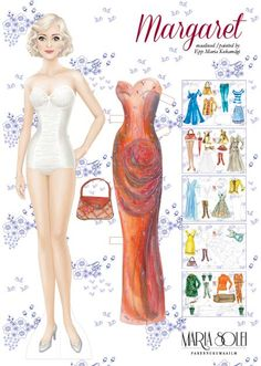 Margaret, a Danish paper doll (1 of 12) / Epp Maria Kohamigri | Maria Solei | Esileht_PoeetDesign.  A luminously beautiful doll, don't you think?