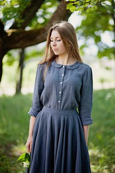 Linen Shirt Grey Blue Long Sleeve Collar Top by SondeflorShop