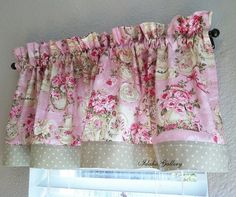 Shabby Pink and Green Rose Teapot Kitchen Curtain Valance Little Curtain