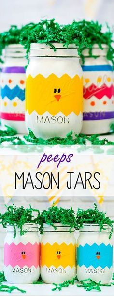 Peeps Mason Jars For Easter   Mason Jar Crafts Love #artsandcraftsforkids,