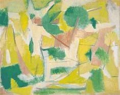 "peinture abstraite espagnole : Esteban Vicente, 1951, ""Copla"", vert-jaune, 1950s"
