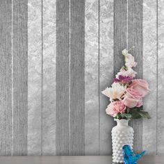 76053 Striped Silver Metallic Gray Wallpaper