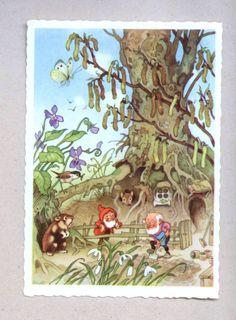 FRITZ BAUMGARTEN - Zwerge im Garten, Hamster schaut zu - Frühling