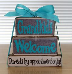 Grandkids Welcome Stackable Wood Blocks Set. , for dee for christmas 2x4 Crafts, Wood Block Crafts, Pallet Crafts, Wooden Crafts, Wood Blocks, Crafts To Make, Glass Blocks, Letter Blocks, Wood Craft Patterns