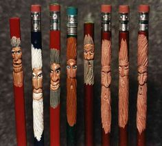 Saw these little carved Santa/Woodsmen pencils in a wood carving museum once.  Tutorial here.