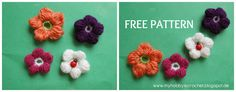 Direct link to free tutorial - 5 Petals Cluster Flower- Easy Crochet Patterns, Crochet Designs, Crochet Ideas, Crochet Projects, Knitting Patterns, Crochet Hearts, Love Crochet, Crochet Embellishments, Knitted Flowers