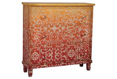 MARRAKESH COTTAGE CHEST - Graduated shades of Cherry Red to Banana Yellow with hand-painted Moroccan art on solid wood three drawer chest. Hand-carved wood knobs with shell buttons. Hand Painted Furniture, Funky Furniture, Paint Furniture, Upcycled Furniture, Furniture Projects, Kids Furniture, Furniture Makeover, Furniture Design, Rustic Furniture