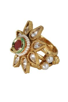 Red & Gold Stylish Artificial Ring. Slight color variation is possible  @mokshafashions  #Ring #love #lovegift #fashion #jewellery #vintage #wedding #gifts #giftideas #Flat20