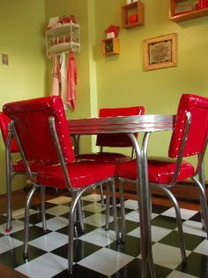 vintage 1950s red kitchen diner table set with 6 chairs kitchen
