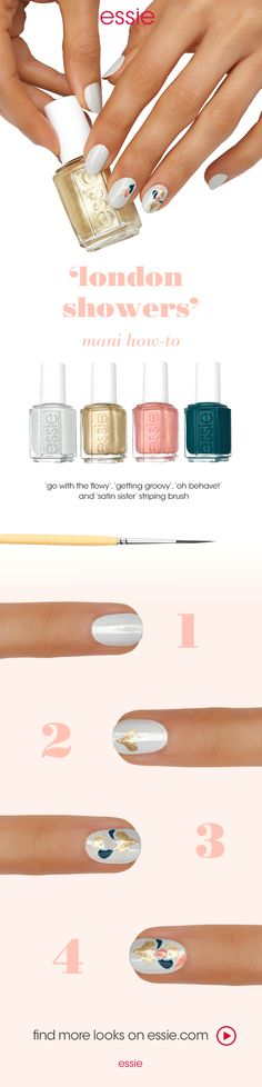 It's getting groovy with nail art featuring the essie winter 2016 collection. Get this look:  step 1: after a thin layer of essie base coat, apply two coats of dove gray nail polish 'go with the flowy'.  step 2: using a striping brush, create a heart-shap