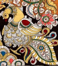 Kalamkari- fabric painting work done with vegetable dyes & running water. Kalamkari Painting, Madhubani Painting, Kalamkari Fabric, Kerala Mural Painting, Indian Art Paintings, Peacock Painting, Fabric Painting, Traditional Paintings, Traditional Art