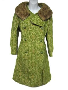 Vintage Mod 60's Green Brocade Tapestry Mink Fur Collar Union Made Coat Jacket S | eBay