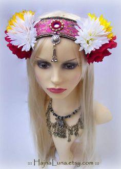 ATS Costume Headdress, Festival Headdress by HajnaLuna #americantribalstyle #tribalbellydance #headdress