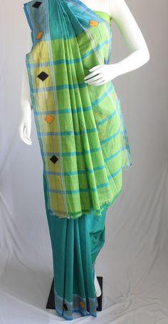 Handloom cotton saree with an appliqued diamond motif by KritiKala