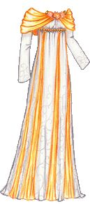 """""""November Birthday Gown with Chrysanthemums and Topazes in Orange and White""""  [Liana's Paper Doll Blog]"""