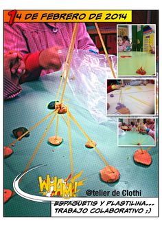 En #infantil P5 de los Colegios @RealejosNazaret @Csdomingo @P5_Twittea recreamos constelaciones con espaguetis y plastilinas.