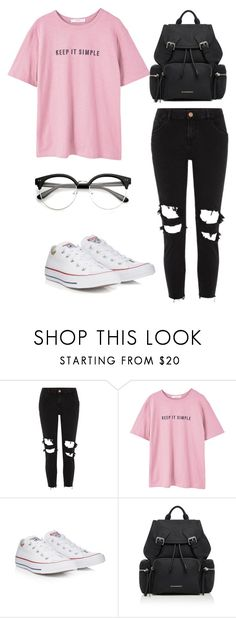"""Untitled #13"" by darya-andreea ❤ liked on Polyvore featuring River Island, MANGO, Converse and Burberry"