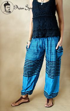Neon blue stripes Summer pants - Find our shop at http://stores.ebay.de/Asian-Spirit-and-Art or connect with us on facebook http://www.facebook.com/asian.spirit.art