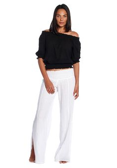 DK Signature,Ruched Palazzo Pants, Cotton Gauze with side slit.