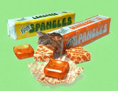 Spangles (1948)  The same year George Orwell gazed apprehensively into a totalitarian future, Mars unveiled a more upbeat response to post-war austerity with these translucent sugar squares. Over three decades tangerine, butterscotch, 'Old English', cola and dozens more varieties appeared, until their liquidation in ... 1984.