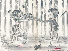Eve et Adam édition limitée seulement 13 tirages signés numérotés Simona Candini art pop surréaliste de carrousel lowbrow gros yeux centaurette