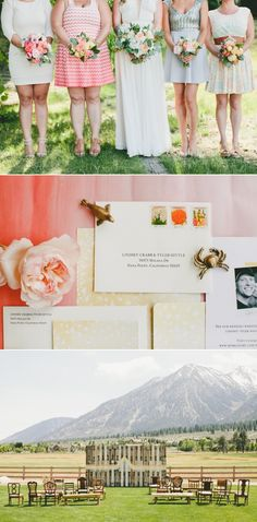 Rustic outdoor Tahoe California Wedding Reception featuring Minted wedding stationery + invitations -