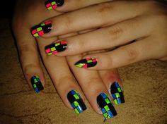 SQUARES NEON!! by R7777 - Nail Art Gallery nailartgallery.nailsmag.com by Nails Magazine www.nailsmag.com