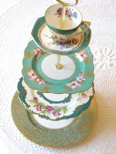 Large 4 tier tea & cupcake stand with pieces from England & Germany in aqua, teal, turquoise & Tiffany blue by HighTeaForAlice