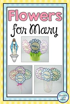 Printable Catholic Feast Day flower craft for the Blessed Virgin Mary. Children learn 12 different titles for Mary as they create this bouquet to be placed in front of a statue of Mary in the classroom or at home. Catholic Feast Days, Catholic Religious Education, Catholic Crafts, Catholic Religion, Catholic Kids, Catholic School, Catholic Saints, Mary Flowers, Flowers For Mom