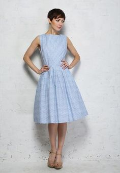 Blue and White 1950s Style Prom Dress - Was £70