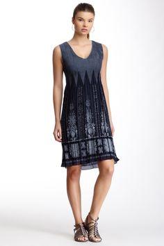 Max Studio Sleeveless Smocked Jacquard Dress