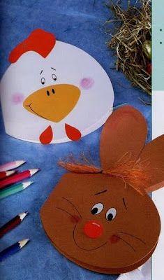 Modelos de tarjetas postales para pascua | Mimundomanual Easy Easter Crafts, Easy Crafts, Crafts For Kids, Farm Theme, Animal Cards, Art Activities, Spring Crafts, In Kindergarten, Craft Gifts