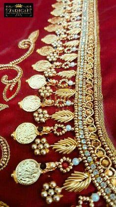 Saved by radha reddy garisa Kids Blouse Designs, Simple Blouse Designs, Bridal Blouse Designs, Embroidery Works, Hand Embroidery Designs, Zardosi Embroidery, Aari Work Blouse, Maggam Work Designs, Pattu Saree Blouse Designs