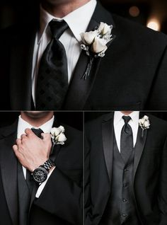 Wedding in black | groom | | stylish groom | | for the groom | | groome's outfit | #groom #groome'soutfit http://www.roughluxejewelry.com/