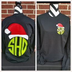 Monogrammed Santa Hat Long Sleeved Shirt. by ElleQDesigns on Etsy