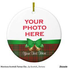 Morrison Scottish Tartan Christmas Photo Double-Sided Ceramic Round Christmas Ornament