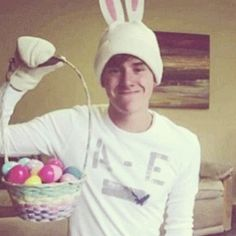 Yes, that is Connor Franta in a bunny hat/ suit. Can I  wake up to see this as my Easter  bunny