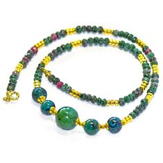 Regenz Ruby Zoisite and Chrysocolla Necklace Brand New   Etsy Beaded Necklace, Beaded Bracelets, Natural Ruby, Malachite, 18k Gold, Gemstones, Sterling Silver, Etsy, Jewelry