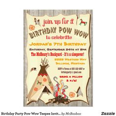Shop Birthday Party Pow Wow Teepee Invitations created by McBooboo. Indian Birthday Parties, Sleepover Birthday Parties, Birthday Fun, Birthday Ideas, Rustic Birthday, 10th Birthday, Camping Party Invitations, Sleepover Invitations, Birthday Party Invitations