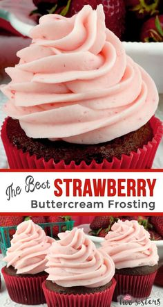 The Best Strawberry Buttercream Frosting - never use store bought again. Teaming with fresh strawberries, this yummy Homemade Strawberry Frosting tastes amazing and is so easy to make. Especially good on angel food cake or chocolate cupcakes, it will make Cupcakes Au Cholocat, Cupcake Cakes, Valentine Cupcakes, Cup Cakes, Köstliche Desserts, Dessert Recipes, Healthy Desserts, Angel Cake, Strawberry Buttercream Frosting