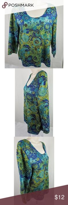 """Norm Thompson Green Blouse Size Large 100% Polyester  22"""" Long 21"""" Chest 17.5"""" Sleeves  Overall good condition. No flaws.   Bin A11 Norm Thompson Tops Blouses"""