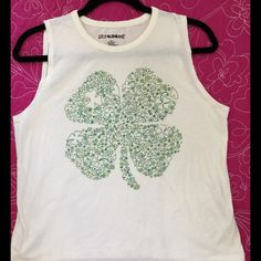 ✅ St. Patricks's Day. Stranded tank top.  Stranded lucky four leaf clover tank top in cotton. Good condition. No rips or stains.  Stranded Tops