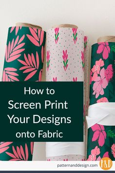 Fabric Patterns Learn the steps to screen print your surface pattern designs onto fabric. Know the limitations of the printing process before you start designing your textile designs and pattern repeats Fabric Print Design, Design Textile, Design Floral, Textile Patterns, Textile Prints, Print Patterns, Pattern Designs, Diy Print On Fabric, Pattern Print