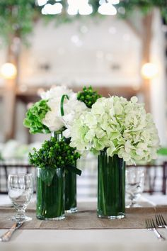 Emerald vases - doesn't an Annabelle hydrangea look beautiful in it?