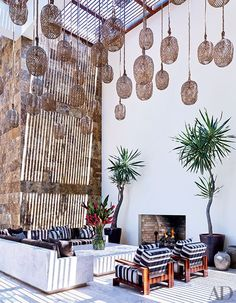 Twine-wrapped lanterns decorate the courtyard at George Clooney's stylish Mexico home.