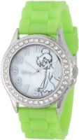 Disney Women's TK1057 Rhinestone Accent Tinkerbell Green Rubber Strap Watch