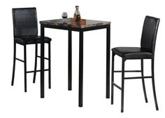 This three piece bistro set is sure to make a lasting impression in any home. Constructed from faux marble and wood, this table is the perfect size for a cozy breakfast or after dinner drinks. The set also includes two  comfortable chairs. Easy to assemble and appreciate, this set is a great addition to any dining space. #tinyliving