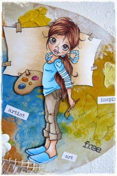 Liz's creative corner ~ SC A New Canvas ~ Copics: Skin: E000-00-11-21-13, R11-30, E04; Eyes: YR21, E35; Hair: E21-25-27-29; Pants: E40-41-43-44; Top: B91-93-95-97; Canvas: E50-51-53; Pink: R81-83-85; Yellows: YR23, Y15