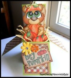 """Pumpkin Patch paper pieced Pop Up Box Card, """"hey pumpkin"""". Pattern by KaDoodle Bug Designs. Punch Art Cards, Pop Up Box Cards, 3d Cards, Stampin Up Cards, Card Boxes, Scrapbook Cards, Scrapbooking, Exploding Box Card, Kids Birthday Cards"""