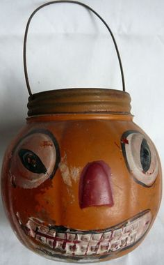 Old glass pumpkin candy container 1905, german, very nice! rare
